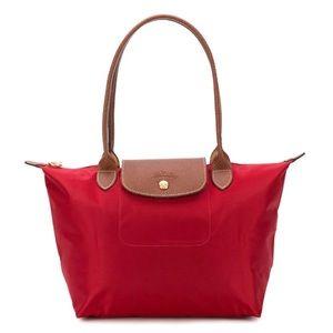 Red small Longchamp Le Pliage Nylon Shoulder Tote